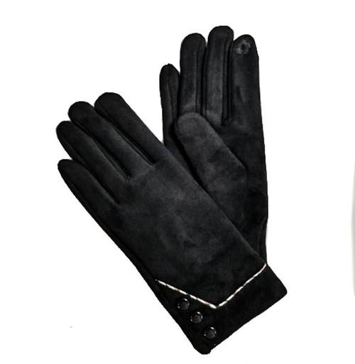 Ladies Gloves faux suede black