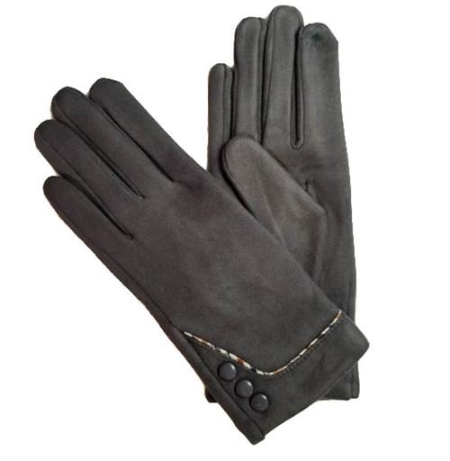 Ladies Gloves faux suede grey