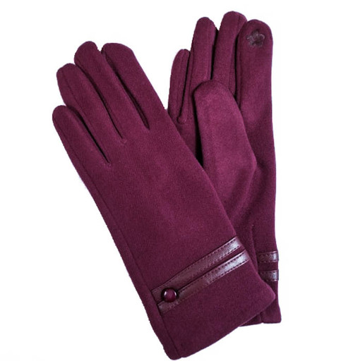 Ladies Gloves wine faux leather trim