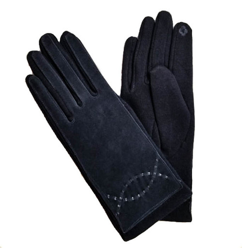 Ladies gloves navy with swirl faux leather trim on cuff