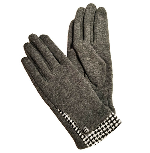 Ladies Gloves Grey houndstooth cuff trim