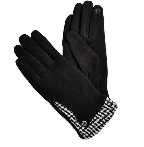 Ladies Gloves black houndstooth cuff trim