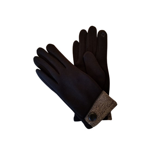Black winter gloves with side button