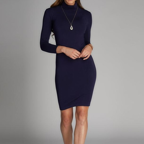 Bamboo Dress Turtleneck navy