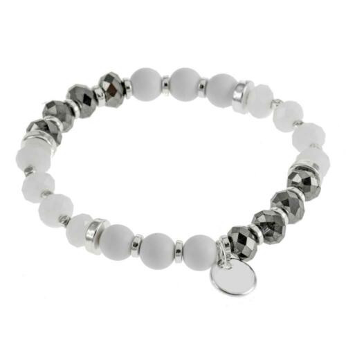 Bracelet white/grey/gunmetal beads and small charm detail.