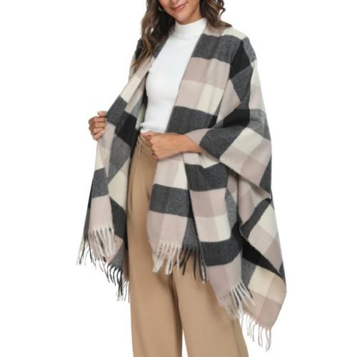 Blanket Shawl taupe/black
