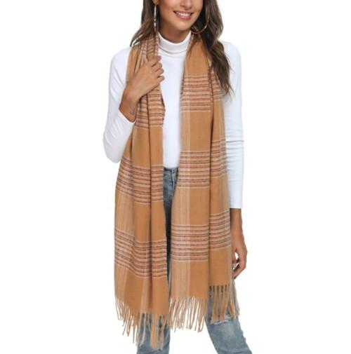 Blanket Scarf Tan Striped