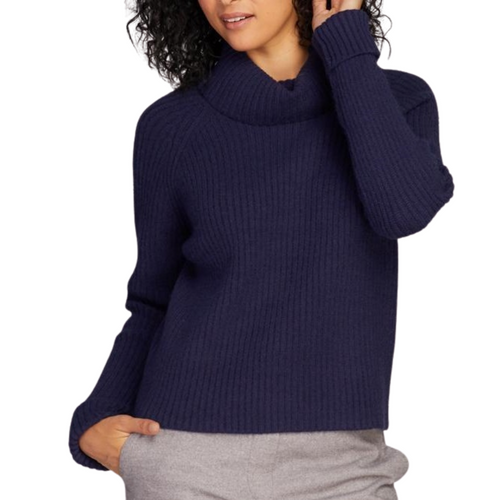 Knit Cowl Neck Sweater Navy