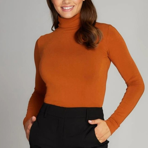 Bamboo Turtleneck Top Ginger