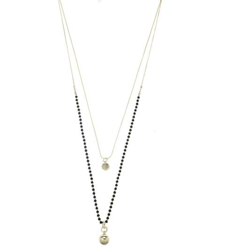 gold and black bead  two layer long necklace