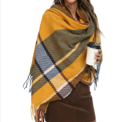 blanket scarf mustard/navy