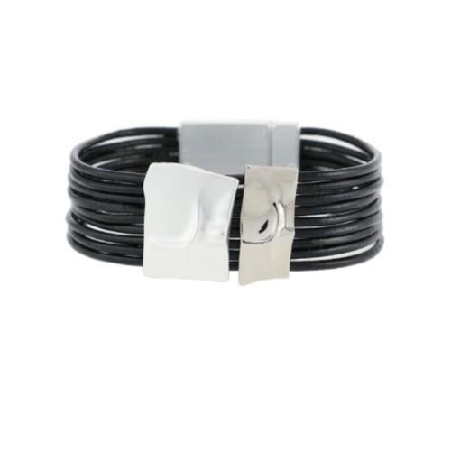 black bracelet silver tones