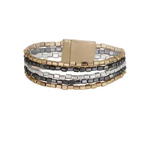 grey, silver, gold link bracelet