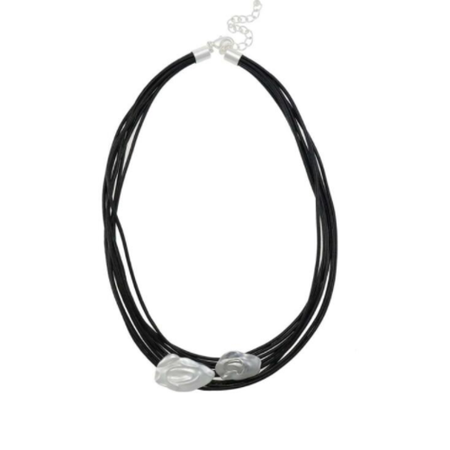 Black cord necklace silver detail