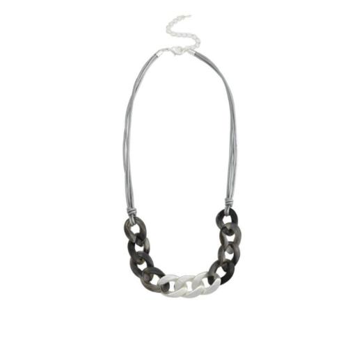 Matt silver light grey neckpiece