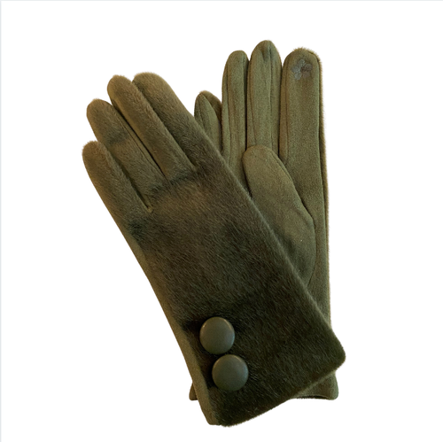 Olive faux fur winter gloves