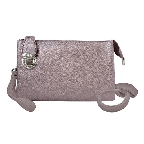 Crossbody bag with multiple pockets rose gold