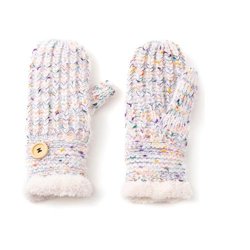 white multicolour mittens