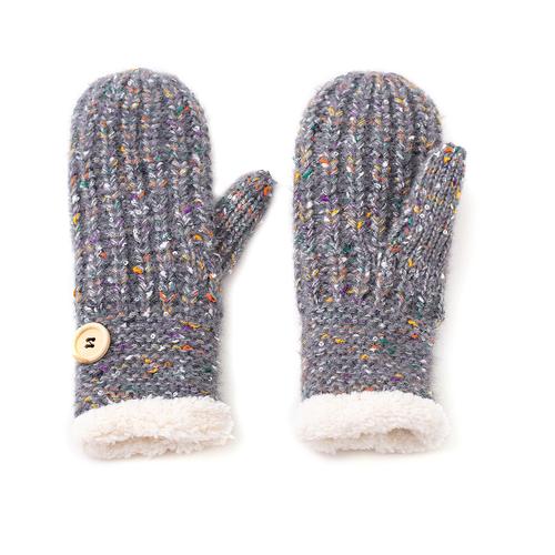 Grey multicolour mittens