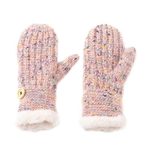 pink multicolour mittens