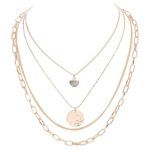 Multi-layer mini labrodite stone & coin necklace