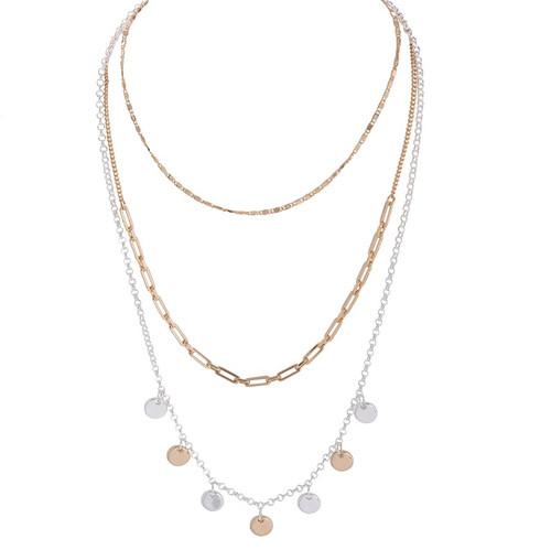 Multi-layer necklace w/ mini discs