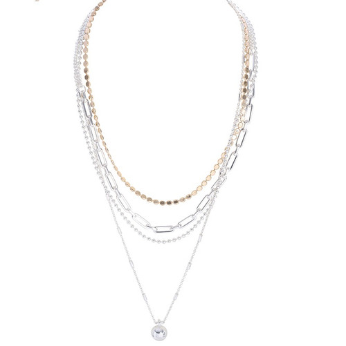 Multi-layer chain necklace with ball pendant