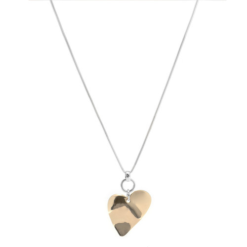 Long Necklace with Silver Chain and Gold Heart Pendant