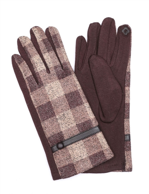 Brown Gloves with beige plaid