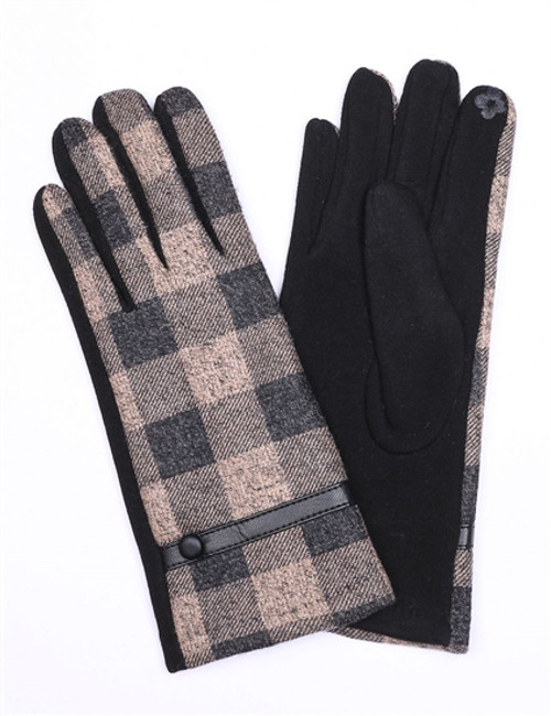 Black Gloves with Beige Plaid