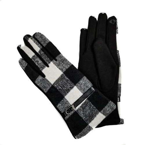 Black Gloves with White Plaid