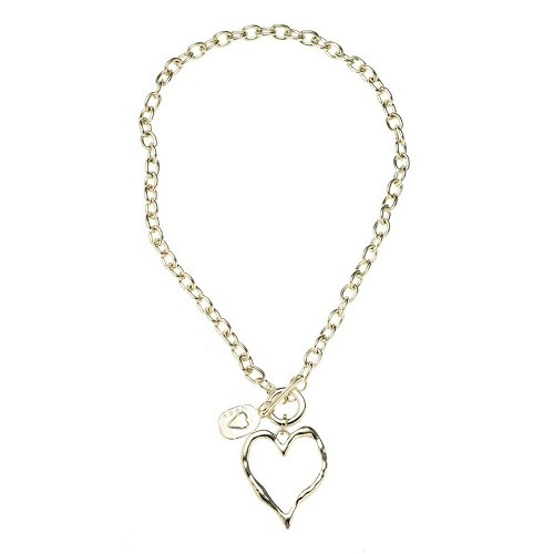 Necklace with Gold Heart and Charm on Link Chain