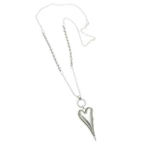 Necklace with Long Chain and Silver Heart Pendant
