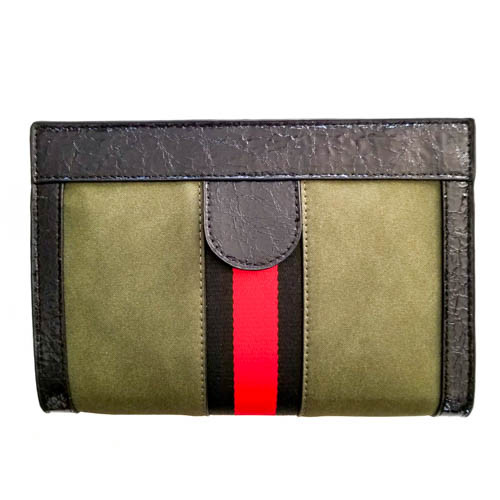 Olive Green Magnetic Closure Clutch
