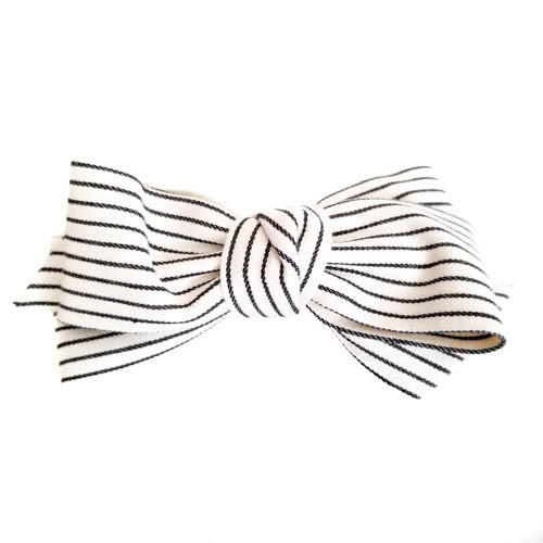 Bow Barrette with Black Stripes