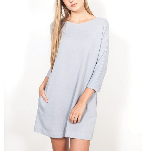 Short Ice Blue Dress with 3/4 Length Sleeves