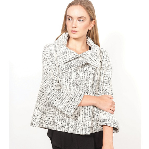 Short Style Jacket with Cowl Neck in Gravel Stripe
