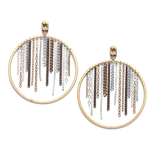 Ori Tao Bora Earrings Large Hoops Filled with Chains