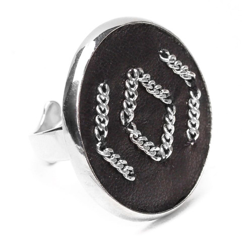 Ori Tao Zephyr Leather Ring with Chain Detail