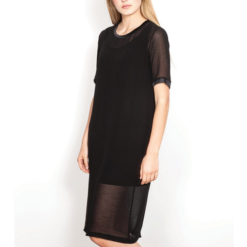 Black Dress with Sheer Overlay