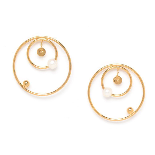 Ori Tao KOSMOS Earring in Gold with Double Hoop and Pearl