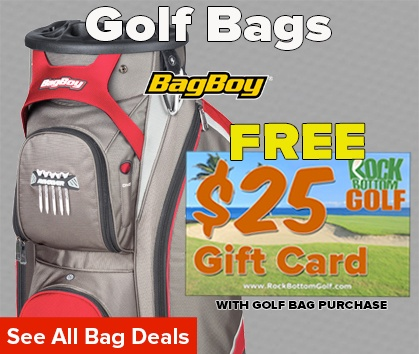 FREE $25 RockBottomGolf.com Gift Card w/ Select Golf Bag Purchase - Shop Now!