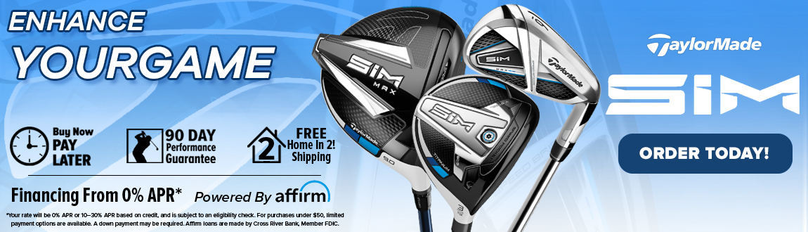 TaylorMade brand page banner for SIM clubs image