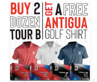 Bridgestone Buy 2 Dozen Tour B Golf Balls, Get 1 FREE Antigua Shirt!
