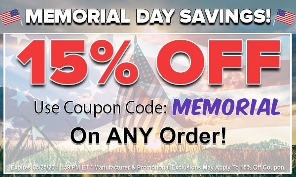 15% OFF Any Order For Memorial Day!