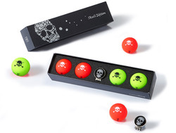 Volvik- Vivid Skull Edition 2.0 Golf Balls with Hat Clip Ball Marker