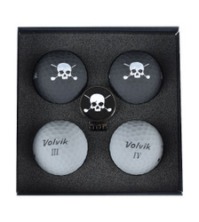 Volvik- Vivid Skull Edition 3.0 Golf Balls with Hat Clip Ball Marker