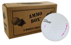 Titleist Pro V1 Fair Recycled Used Pink Golf Balls *36-Ball Ammo Box*