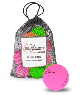 Bullet .444 Distance Matte Colored Golf Balls [12-Ball]