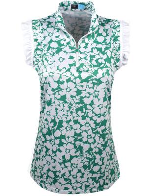 PGA Tour Golf- Ladies Floral Print 1/4 Zip Polo